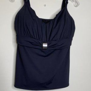 Coco Reef Black Ruched Tankini Top Sz 38D